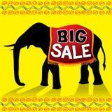 Cartel grande del elefante de la venta Fotografía de archivo