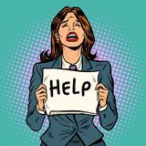 Cartel gritador de la ayuda de la mujer ilustración del vector