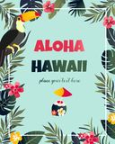 Cartel hawaiano tropical con el tucán Plantilla del partido Invitación, bandera, tarjeta fotos de archivo