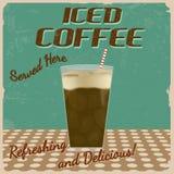 Cartel helado del vintage del café Fotografía de archivo