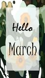 Cartel hola marzo stock de ilustración