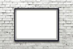 Cartel horizontal en blanco de la pintura en marco negro Imagen de archivo