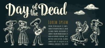 Cartel horizontal para Dia de los Muertos Día de las letras muertas stock de ilustración