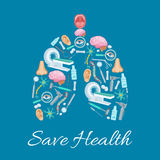 Cartel humano de los pulmones integrado por iconos médicos Fotografía de archivo libre de regalías