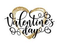 Cartel inspirado de la motivación de las letras del día del ` s de la tarjeta del día de San Valentín Imagen de archivo