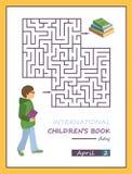 Cartel internacional del día del libro del ` s de los niños, juego del laberinto del laberinto Imágenes de archivo libres de regalías