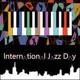 Cartel internacional uno del día del jazz Imagenes de archivo