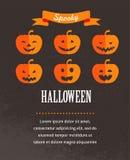 Cartel lindo de Halloween con las calabazas Foto de archivo libre de regalías