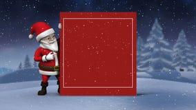 Cartel lindo de la demostración de la animación de Papá Noel almacen de metraje de vídeo