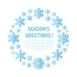 Cartel lindo del copo de nieve, bandera Saludos de las estaciones Iconos planos de la nieve, nevadas Plantilla agradable de la Na stock de ilustración