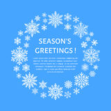 Cartel lindo del copo de nieve, bandera Season& x27; saludos de s Iconos planos de la nieve, nevadas Copos de nieve agradables pa ilustración del vector