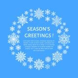 Cartel lindo del copo de nieve, bandera Season& x27; saludos de s Iconos planos de la nieve, nevadas Copos de nieve agradables pa Imagenes de archivo