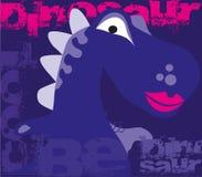 Cartel lindo del dinosaurio Fondo púrpura de Dino de la historieta Ilustración del vector ilustración del vector