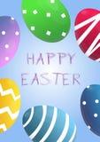 Cartel lindo del vector para la caza del huevo de Pascua con los huevos coloreados 3d en fondo azul Plantilla de la historieta pa stock de ilustración