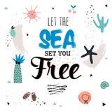 Cartel lindo del verano del hola libre illustration