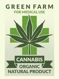 Cartel médico con los ejemplos de la hoja de la marijuana stock de ilustración