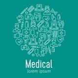 Cartel médico con los iconos planos ilustración del vector