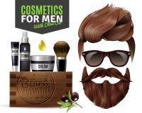 Cartel masculino realista de los cosméticos stock de ilustración