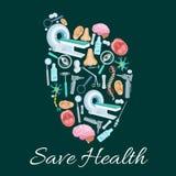 Cartel médico de la salud del símbolo del corazón del vector Imagen de archivo