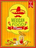 Cartel mexicano del menú de la comida Foto de archivo