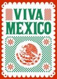 Cartel mexicano del vector del día de fiesta de Viva Mexico, ejemplo de la decoración de la calle stock de ilustración