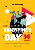 Cartel moderno con el corazón humano en el estilo de Memphis para el partido del inconformista libre illustration