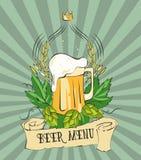 Cartel moderno de la cerveza del vintage Plantilla retra del cartel para el menú de la cerveza, la muestra, la etiqueta o el dise Fotografía de archivo