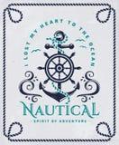 Cartel náutico con el ancla, el volante y el marco de la cuerda Imagen de archivo libre de regalías