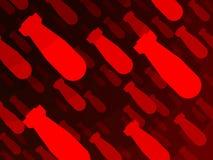 Cartel nuclear de la bomba roja del fondo Fotos de archivo libres de regalías