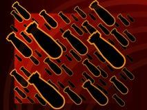 Cartel nuclear rojo de la bomba del fondo que brilla intensamente Imagen de archivo