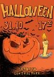 Cartel o aviador para el partido de Halloween ` De Jack-o - linterna y vela Ejemplo de la plantilla del vector stock de ilustración