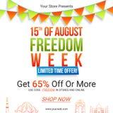 Cartel o bandera de la venta para el Día de la Independencia indio Imágenes de archivo libres de regalías