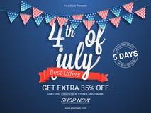 Cartel o bandera de la venta para el 4 de julio Fotografía de archivo libre de regalías