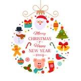 Cartel o empaquetado de la Navidad stock de ilustración