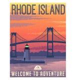 Cartel o etiqueta engomada del viaje de Rhode Island Fotos de archivo libres de regalías
