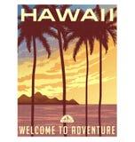 Cartel o etiqueta engomada retro del viaje del estilo hawaii libre illustration