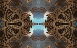 Cartel o fondo fantástico abstracto épico Vista futurista desde adentro del fractal Modelo en la forma de flechas foto de archivo