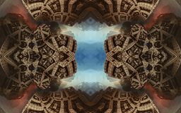 Cartel o fondo fantástico abstracto épico Vista futurista desde adentro del fractal Modelo en la forma de flechas Imágenes de archivo libres de regalías