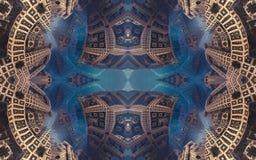 Cartel o fondo fantástico abstracto épico Vista futurista desde adentro del fractal Modelo en la forma de flechas Imagen de archivo libre de regalías