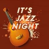 Cartel o invitación musical de la celebración del partido de Jazz Night Imagenes de archivo