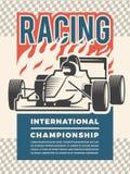 Cartel o cartel para el motosport Ejemplos del vintage de los coches de competición libre illustration