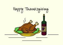 Cartel o postal feliz de la acción de gracias Un plato del pavo con la ensalada y una botella de vino rojo Ilustración del vector Fotos de archivo libres de regalías