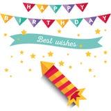 Cartel o tarjeta para el cumpleaños La decoración le gusta la cinta, stock de ilustración