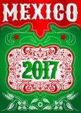 2017 cartel occidental del estilo de México - plantilla mexicana del vaquero del día de fiesta Foto de archivo libre de regalías