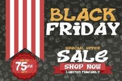 Cartel oscuro con la cinta rayada el viernes negro noviembre ilustración del vector