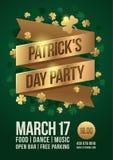 Cartel para celebrar día del ` s de St Patrick Cinta del oro con la inscripción: El ` del partido del día del ` s de Patrick del  libre illustration