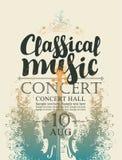 Cartel para el concierto de la música clásica con el violín stock de ilustración