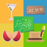 Cartel para el ejemplo del vector del partido de la playa Fotografía de archivo