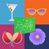 Cartel para el ejemplo del vector del partido de la playa Imagen de archivo libre de regalías