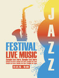Cartel para el festival de jazz con un saxofón Imagen de archivo